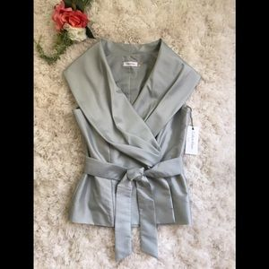 Calvin Klein grey sleeveless wrap blouse
